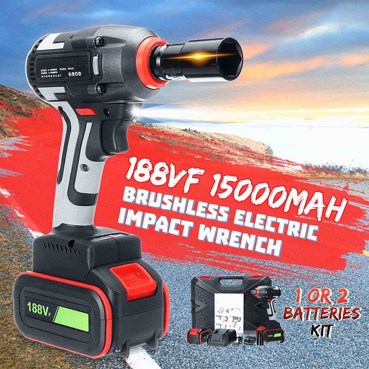Newest 188V Brushless Cordless Electric Wrench Impact Socket Wrench 15000mAh Li-ion Battery Hand Drill Installation Power Tools