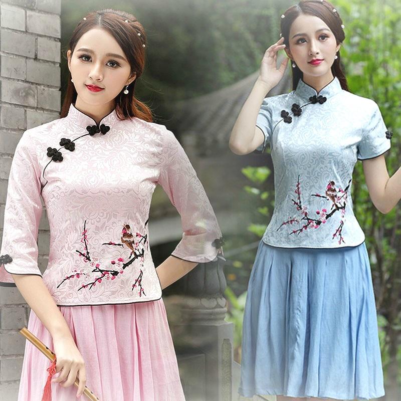 Folk Guzheng Clothes Sets Traditional Shirt Chinese Clothing Women Tang Costume Cheongsam Suit-dress Tops+Skirt Hanfu Dress XXXL