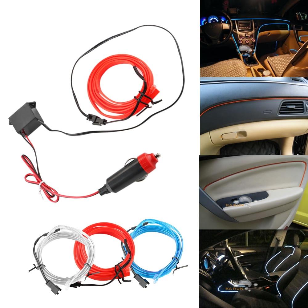 LEEPEE Flexible Neon EL Wire 1M/set Decorative Lamp Auto Lamps Interior Decoration Light Strips Car 12V LED Cold lights