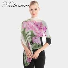 Neelamvar 2019 Fashion Women Hijab Scarves Chiffon Silk Shawl flowers Prting Brand Scarf From India Beauty cachecol 160*50cm