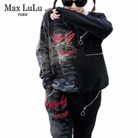 Max LuLu Spring 2019 Luxury Korean Ladies Streetwear Womens Two Pieces Sets Denim Tops And Pants Tracksuit Woman Outfits Clothes