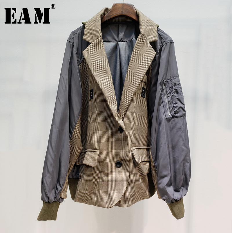 EAM 2019 New Spring Summer Lapel Long Sleeve Plaid Printed Hit Color Split Joint Loose