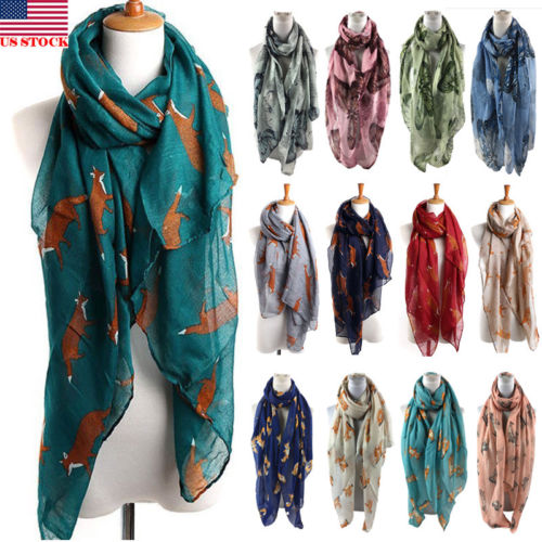 USA women long Animal Floral soft Fox Pattern Cotton   Scarf     Wrap   Shawl   Scarves   Fashion Stole