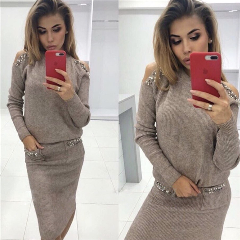 2019 Bleading Sweater Women Suits Fashion Shoulder Off Sleeve Knitting Sweater And Skirt Two Piece Women Set Office Lady Suit