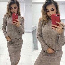 2019 Bleading sweter damskie garnitury moda Shoulder Off Sleeve sweter z dzianiny i spódnica dwuczęściowy zestaw damski damski garnitur oficjalny