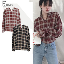 b9506c73 Cute Sweet Tops Women Long Sleeve Preppy Style Casual Black Red Plaid  Blouses Button