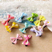 1PC/4PCS Bowknot Hair Clops Fashion Bow Accessories Candy Colors Girls Children  Mini Sweet Solid Dot Floral Clips