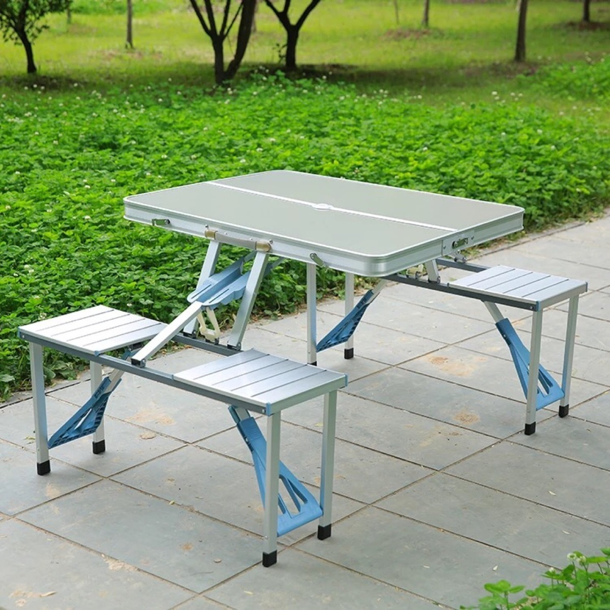 Outdoors Leisure Time Conjoined Tables And Chairs Portable Aluminium Alloy Fold Table Chair Stall Camp Barbecue Table king camp комплект 3850 table chair set серый