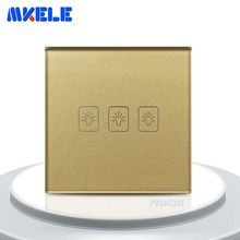 Touch On Off Switch 3 Gang 2 Way EU Standard Gold Screen Wall Socket For Lamp