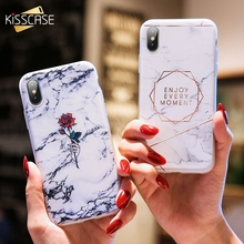 KISSCASE Marble Phone Case For iPhone 6 6S 7 8 Plus 5 5s Se Rose Pattened  Back Cases For iPhone X XS Max XR Soft TPU Back Cover цена и фото