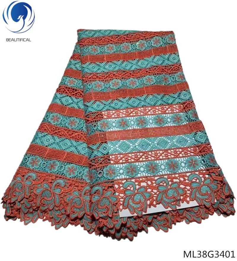 BEAUTIFICAL guipure stoffen koord kant stoffen met stenen 2019 afrikaanse water oplosbare veters jurken voor vrouwen 5 yards/lot ML38G34-in Kant van Huis & Tuin op  Groep 1