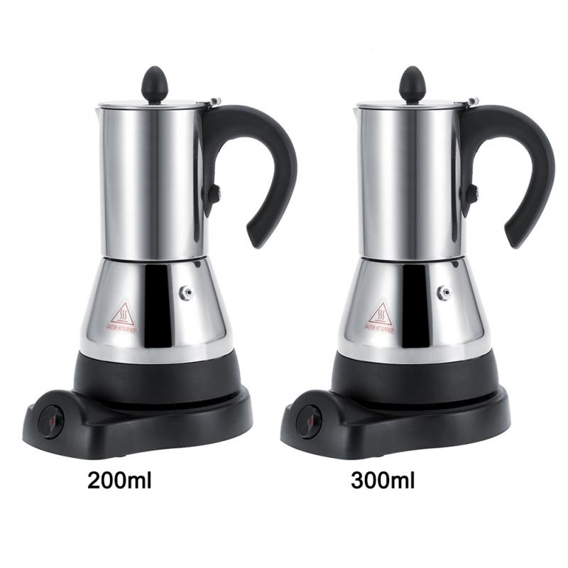 200 300ml Electric Stainless Steel Espresso Coffee Mocha Pot Electric Coffee Maker EU Plug 220V