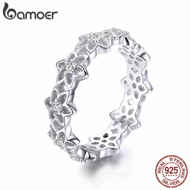 BAMOER Genuine 925 Sterling Silver Stackable Blooming Begonia Flower Female Rings for Women Sterling Silver Jewelry Anel BSR029