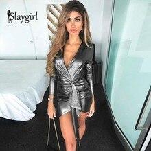 db003370c2 Slaygirl Sexy srebrny Mini sukienka z długim rękawem nowy kobiety głębokie  V Neck Metal Wrap Bodycon