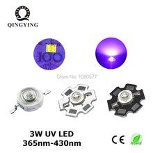 3 w מתח גבוה LED דיודות UV סגול אור 365nm שבב 385nm 395nm 400nm 405nm 430nm עבור נייל מייבש מטבע זיהוי DIY