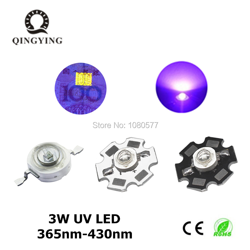 3W High Power LED Diodes UV Purple Light Chip 365nm 385nm 395nm 400nm 405nm 430nm For Nail Dryer Currency Identification DIY