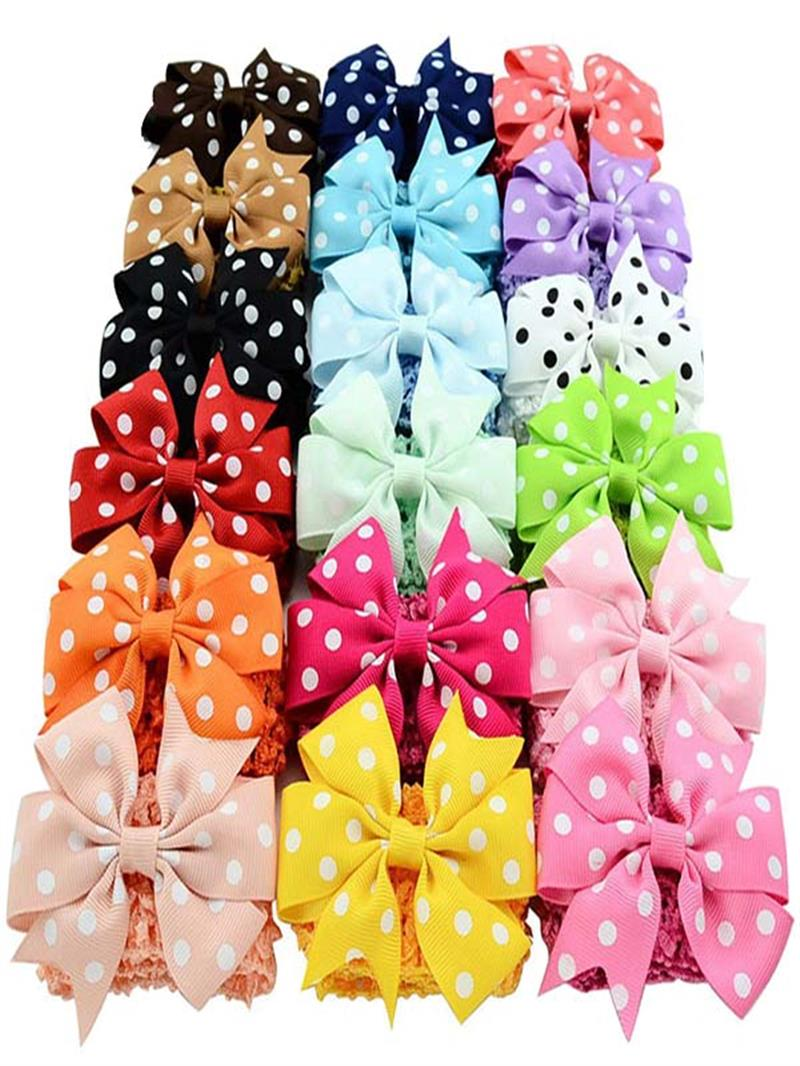 Baby <font><b>Girls</b></font> Grosgrain Ribbon Hair Bows Clips Fashion Hair Band Headbands For <font><b>Teens</b></font> Women <font><b>Girls</b></font> Kids Pack Of <font><b>18</b></font>(Colorful) image