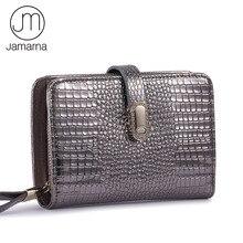 Jamarna carteira feminina de couro genuíno carteiras de crocodilo padrão curto pequena carteira fivela magnética titular do cartão