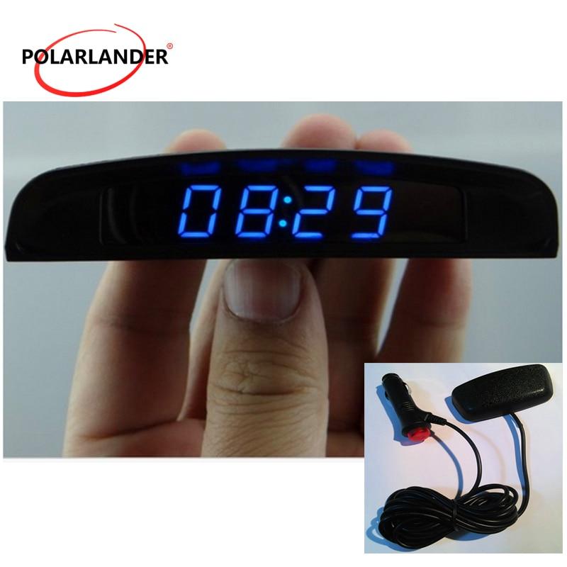 PolarLander 12V 3 In 1 Digital LED Auto Uhr Thermometer Voltmeter Spannung Temperatur Monitor