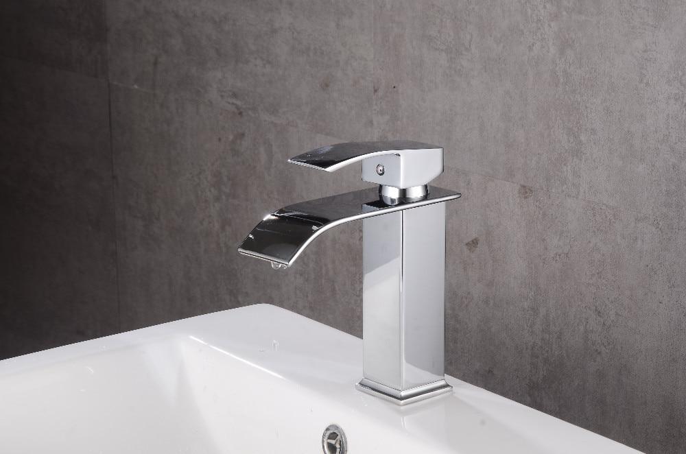Robinets salle de bains évier bassin en laiton robinet cascade robinet d'eau robinet lavabo moderne mélangeur mitigeur robinets - 4