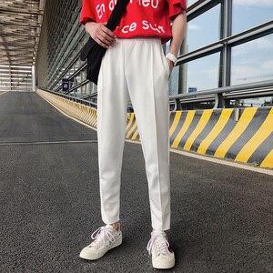 Image 3 - Pantalon pour homme, tendance, confortable, grande taille, 2020, en coton doux, couleur blanc/noir, collection pantalons décontractés