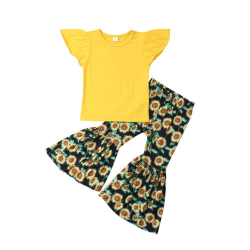 Baby Girl Fly Sleeve Cotton Tops T-shirt+Sunflower Printed Loose Flared Pants Clothes Summer Kids Clothing Set