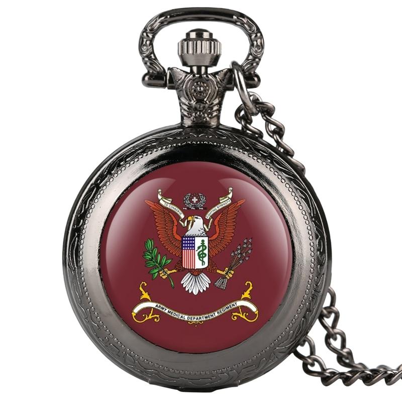 Army Medical Department Regiment Quartz Pocket Watch Men Women Necklace Pendant US Unique Pocketwatch Collectibles For Men Women