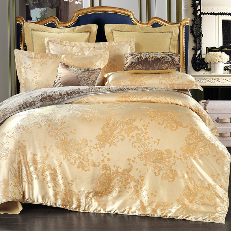 4PCS European Satin Jacquard Bedding Suite Set Duvet Cover Purple Gold Queen Luxury Polyester Embroidered Duvet Cover