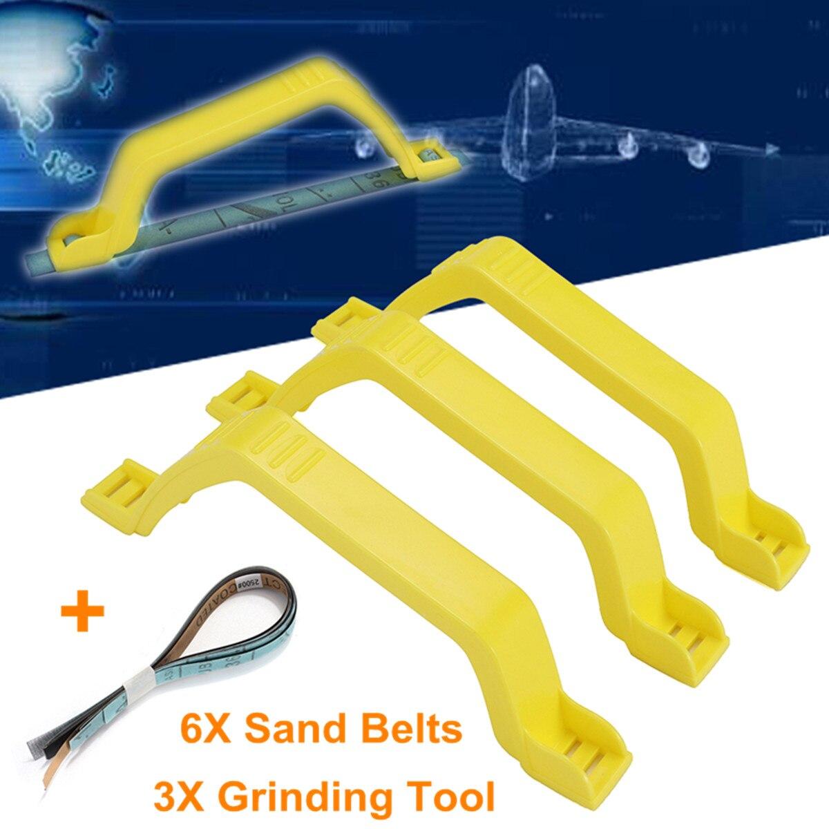 3Pcs/Set Sanding Polish Grinding Tools Bow Handle Modeling Holder 6Pcs Sandpaper Kit Abrasive Tools Grinder Polisher Accessories
