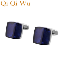 Qi Wu Square Luxury Blue Cufflinks for Mens Wedding Favor French Shirt Cuff Buttons Men Sliver Arm links Christmas Gifts