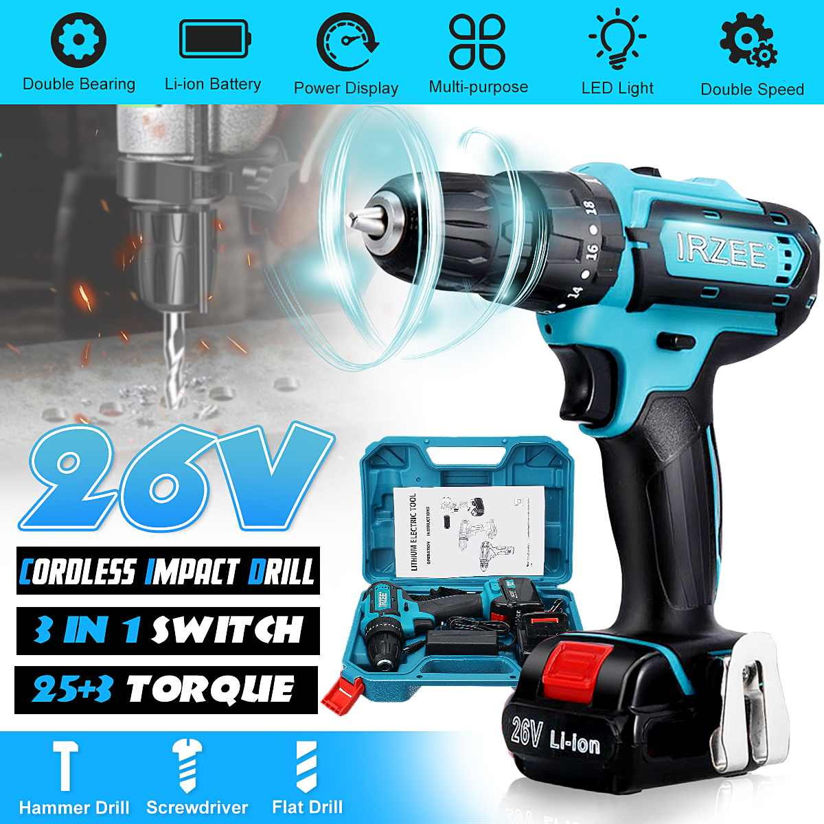 3 IN 1 26V 18+1/25+3 Electric Screwdriver Cordless Electric Impact Drill Power Driver Li-Ion Battery 2Speed DIY Home Power Tools3 IN 1 26V 18+1/25+3 Electric Screwdriver Cordless Electric Impact Drill Power Driver Li-Ion Battery 2Speed DIY Home Power Tools