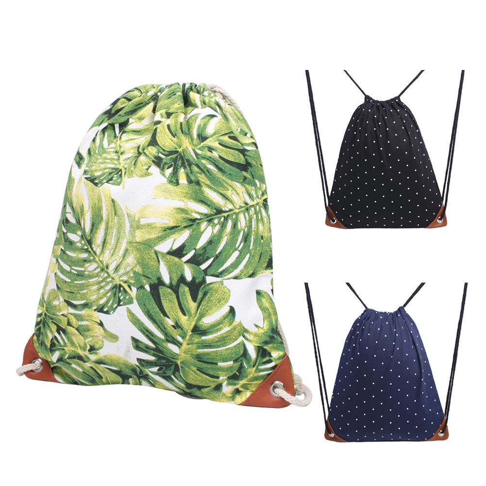 Foldable Canvas Backpack Women Drawstring Bag Beach Sports Multifunctional Portable Print Polka Dot Sack Outdoor Gym Bag ~3