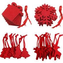 10 Pcs Hanging Pendants Handmade Red Creative Non-woven DIY Pendant Xmas Drop Ornament Home Decor Christmas Tree Decor