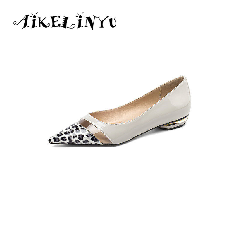 AIKELINYU Casual Women Flats High Quality Genuine Leather Fashion Comfortable Cow Leopard Print Loafers New