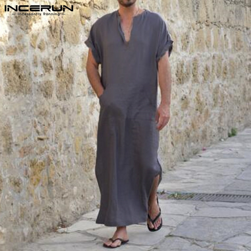 INCERUN Men Robes Islamic Muslim Cotton Short-Sleeve Loungewear Kaftan V-Neck Solid Arab