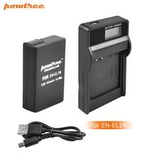 Powtree 1500mAh EN-EL14 EN-EL14a ENEL14 EL14 Battery+LCD Charger for Nikon P7800,P7700,P7100,P7000,D5500,D5300,D5200,D3200L10