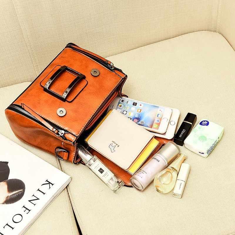 2019 ربيع حقيقي جلد طبيعي حقيبة يد حقائب امرأة صغيرة حقائب تسوق بخمر تقاطعية للنساء حقيبة ساعي الكتف الإناث