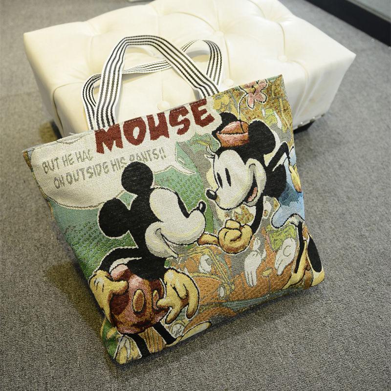 Lady Handbag Shoulder-Shopper Large-Capacity Women Mouse-Bag Satchel Canvas Fashion Cartoon