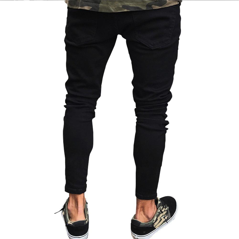 Fashion Men Ripped Skinny Jeans Stretch Destroyed Frayed Slim Fit Denim Pant With Zipper Pencil Pants Trousers Men Clothes