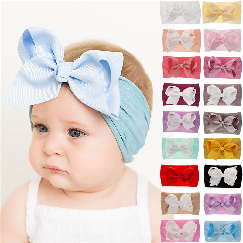18 Colors Soft Baby Girls Big Bow Hairband Headband Princess Stretch Turban Big Knot Head-Wrap Fashion Elastic Headband