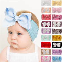 18 Colors Soft Baby Girls Big Bow Hairband Headband Princess Stretch Turban Big Knot Head-Wrap Fashion Elastic Headband(China)