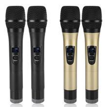 1 to 2 범용 VHF 무선 마이크 핸드 헬드 2 채널 microfone sem fio 가라오케/비즈니스 미팅 microfo 용 수신기 포함