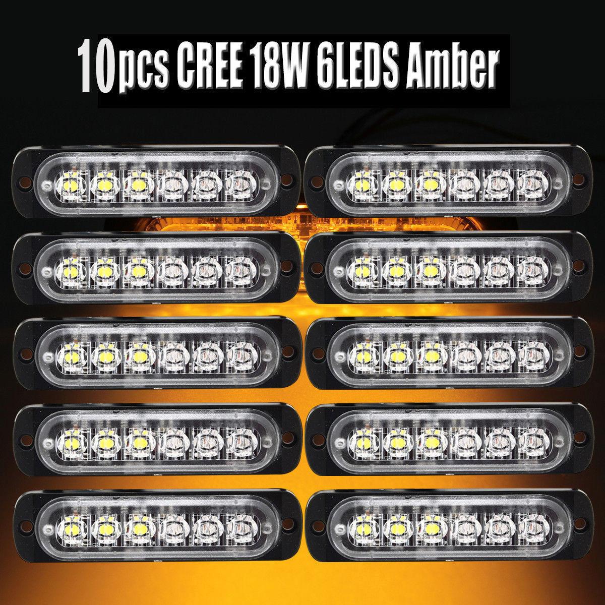 10*6 LED 12V 24V DC Car Emergency Lights Beacon Warning Hazard Flash Strobe Ligh