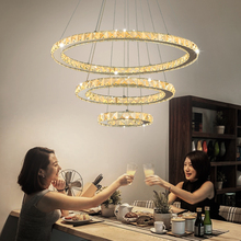 Remote Control Crystal Modern LED Pendant Lights For Dining Livingroom Stainless steel pendant lamp Cord hanglamp light fixtures