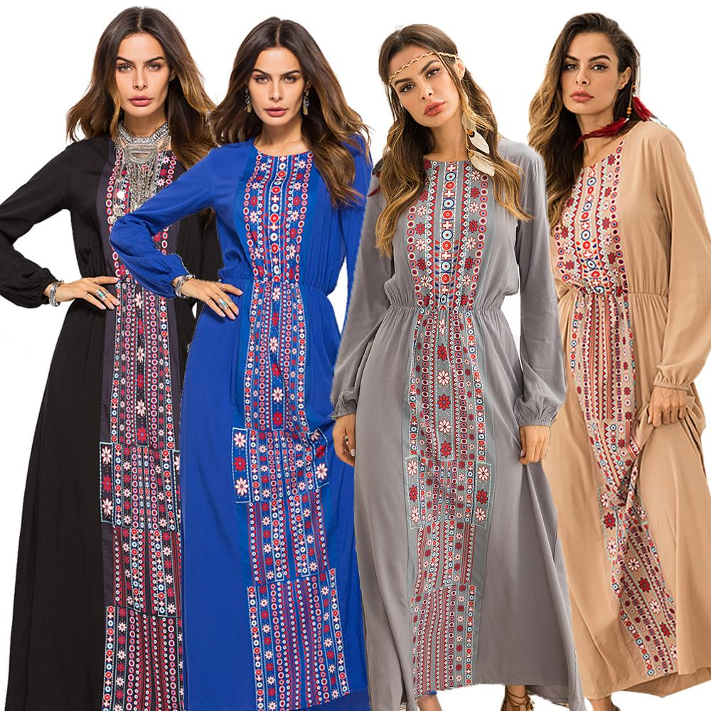 Women Dress Ethnic Ukraine Maxi Muslim Robe Elastic Waist Printed Indie Folk Floral Printed Islamic Clothing Vintage FashionNew