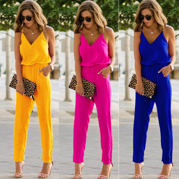 Womens Casual Solid spaghetti strap Bodycon Romper Jumpsuit Club Bodysuit Long Pants 3