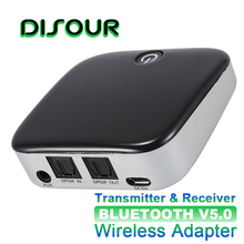 DISOUR BTI029 2 IN 1 Bluetooth 5.0 Receiver Transmitter CSR8670 Wireless Audio Adapter SPDIF 3.5MM AUX Audio For TV Car ATPX HD