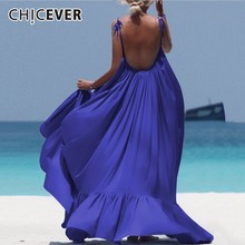 CHICEVER Sexy Backless Summer Dress Female O neck Sleeveless High Waist Loose Plus Size Pleated Dresses For Women Fashion New