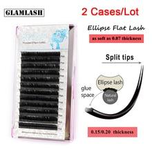 GLAMLASH 2Cases/Lot Ellipse Flat Individual Split Tips Eyelash Extension Natural Soft Cilios Matte Mink False Eye Lash Extension недорого