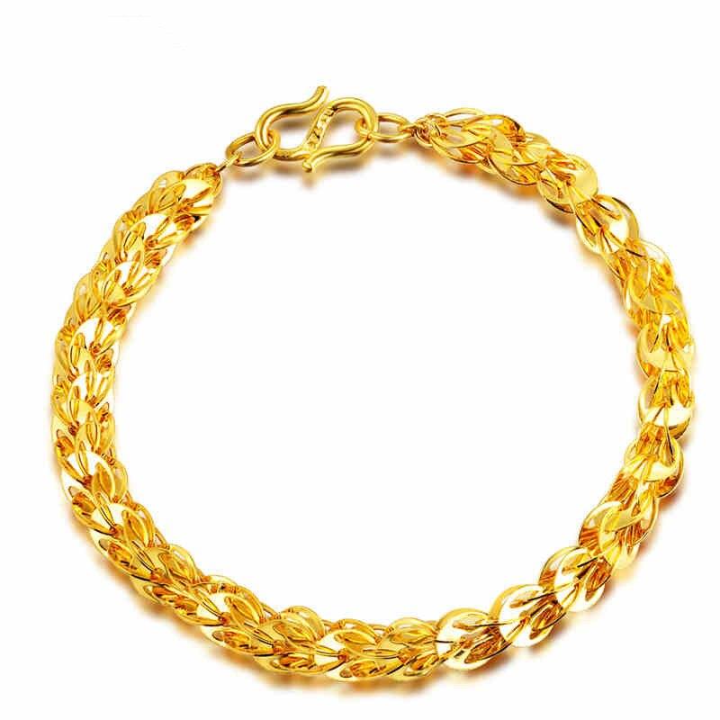 Gold 18K Non fading Couple Chain Bracelet Male 18k Gold Hip Rock Chain Glossy Phoenix Tail Bracelet Bizuteria Gemstone for Men in Bracelets Bangles from Jewelry Accessories